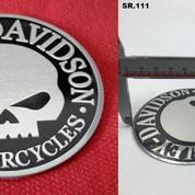 Emblem Timbul Skull Harley Aluminium.9cm