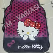 Karpet Mobil Universal Motif Hello Kitty Dasar Ungu Dot Hitam Pita Mata Kedip