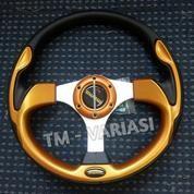 Stir Racing Momo 13 Inchi Import Gold Motif Tinggi Palang Silver