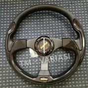 Stir Racing Momo 13 Inchi Import Hitam Motif Tinggi Palang Hitam