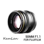 Lensa Kamlan 50mm F/1.1 For Mirrorless Fujifilm X-Mount