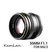 Lensa Kamlan 50mm F1.1 For Mirrorless Panasonic & Olympus Mount M 4/3