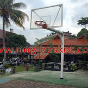 Ring Basket Tiang Tanam Dengan Papan Pantul Basket Tempered Glass 12 Mm