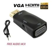 Adapter HDMI To VGA And With + Port Audio AUX For HDTV Full HD 1080p