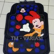 Karpet Mobil Universal Motif Mickey Minnie Balon Dasar Hitam