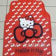 Karpet Mobil Universal Motif Hello Kitty Dasar Merah Pita-Pita Kecil Putih