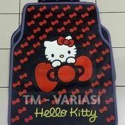 Karpet Mobil Universal Motif Hello Kitty Dasar Hitam Pita-Pita Kecil Merah