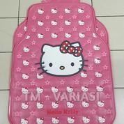 Karpet Mobil Universal Motif Hello Kitty Dasar Pink Big Little Head Pita Merah