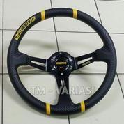 Stir Racing Import Momo Drifting Carbon Celong 14 Inchi Palang Hitam List Kuning