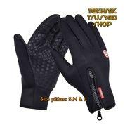 Sarung Tangan Driver Motor Resleting Windstropper Gloves Zipper Best HITAM Size S,M & L