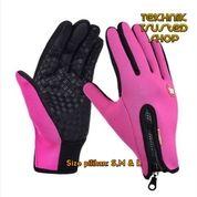Sarung Tangan Driver Motor Resleting Windstropper Gloves Zipper Best PINK Size S,M Dan L