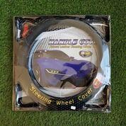 Cover Steer Mobil Mbtech Hitam Jahit Putih Ukuran M