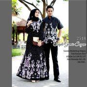 Batik Couple Gamis Warna Hitam Sama Kuning Keemasan