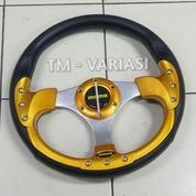 Stir Racing Momo 13 Inchi Import Palang Silver Motif Gold 9 Baut