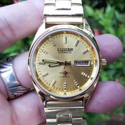 Jam Antik Citizen Automatic 8200A Japan Gold Plate CTZ001 Vintage Watch