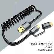 Kabel Charger JOYSEUS 2 In 1 Spiral Micro USB & Type-C Fast Charging