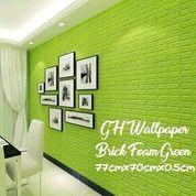 WARNA HIJAU Wallpaper 3D Modern Foam Batu Bata 70 X 77cm Wall Sticker