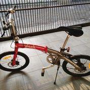 """Sepeda Lipat Folding Bike United Pact 20"""" Merah Abu Full Orisinil Seperti Baru"""