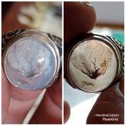 Natural Batu Cincin Gambar Daun Antik