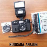 Kamera Analog Fujica M1 + Flash Mikona + Lens Cap