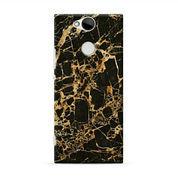 Gold Textured Black Marble Sony Xperia XA2 Custom Hard Case