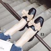 *Promo Agustus????* Emerlyn Flatshoes E3 Bahan: Kulit Variasi: Black And Beige 35