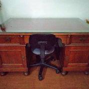 Meja Kantor Kayu Jati + Kaca