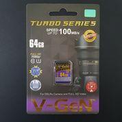 SDHC V-GeN 64GB Class 10 Turbo 100MB/S (SDCard VGEN) Memory Kamera
