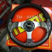 Stir Racing Momo 13 Inchi Import Carbon Motif Rendah Baut Palang Silver Universal