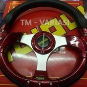 Stir Racing Momo 13 Inchi Import Merah Motif Rendah Baut Palang Silver Universal