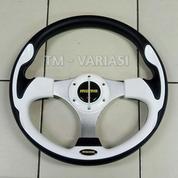 Stir Racing Momo 13 Inchi Import Putih Motif Tinggi Palang Silver Universal