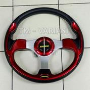 Stir Racing Momo 13 Inchi Import Merah Motif Tinggi Palang Silver Universal