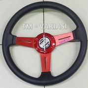 Stir Racing 13,5 Inchi Tengah Motif Carbon 3 Palang Datar Merah Universal
