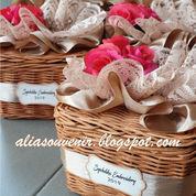 Souvenir Tempat Tisu Rotan Bentuk Kotak Kecil Dg Bunga Cantik