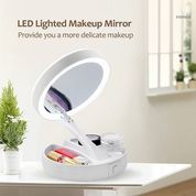 Cermin Lipat Led Make Up Tools Kecantikan Mirror Foldable Kosmetik Dua
