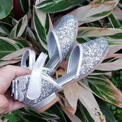 Sepatu Pesta Anak Silver Heels Pendek Import