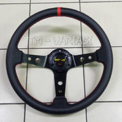 Stir Racing Import Momo Garis Merah Celong 14 Inchi Palang Circle Hitam