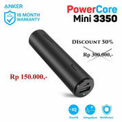 Powerbank Anker PowerCore Mini 3350mAh Black Original Garansi Resmi 18 Bulan