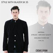 Blazer Jas Pria, Korean Style Black Sk35