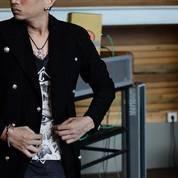 Jaket Jas Pria Hitam, Blazer Black Korean Style Sk36