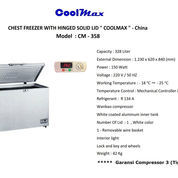CHEST FREEZER WITH HINGED SOLID LID COOLMAX CM 358