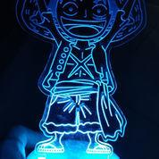 Lampu LED Hias Tidur Akrilik Acrylic One Piece Luffy Zoro Kado Ultah Ulang Tahun