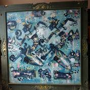 Lukisan Bali Abstak Berpigura Ukir Second / Preloved