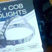 Headlamp 2 Lampu 1 batre LED dan COB terang Putih