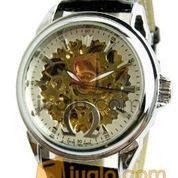 Jam tangan Otomatis omega transparan (white) leather