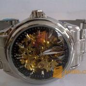 jam tangan omega skeleton otomatis black rantai (KW)