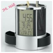 Jam Meja promosi - Pen Holder & Desk Clock JHL 2668