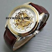 jam rolex leather white brown combi gold type 3