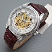jam tangan otomatis rolex leather white brown type 4