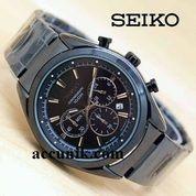 Jam Tangan Pria Seiko R1174 full Black crono aktif